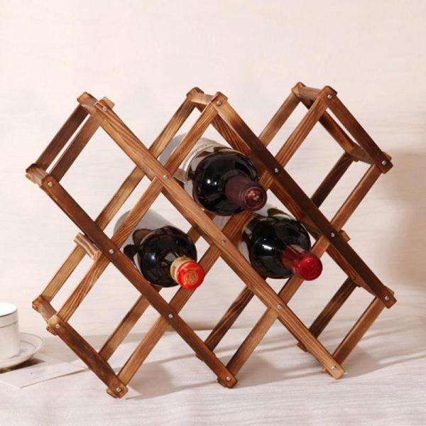 מדף עץ דקורטיבי לאחסון בקבוקי יין2