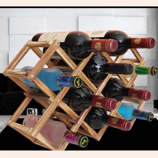 מדף עץ דקורטיבי לאחסון בקבוקי יין3