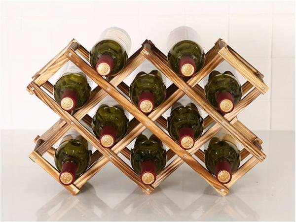 מדף עץ דקורטיבי לאחסון בקבוקי יין8