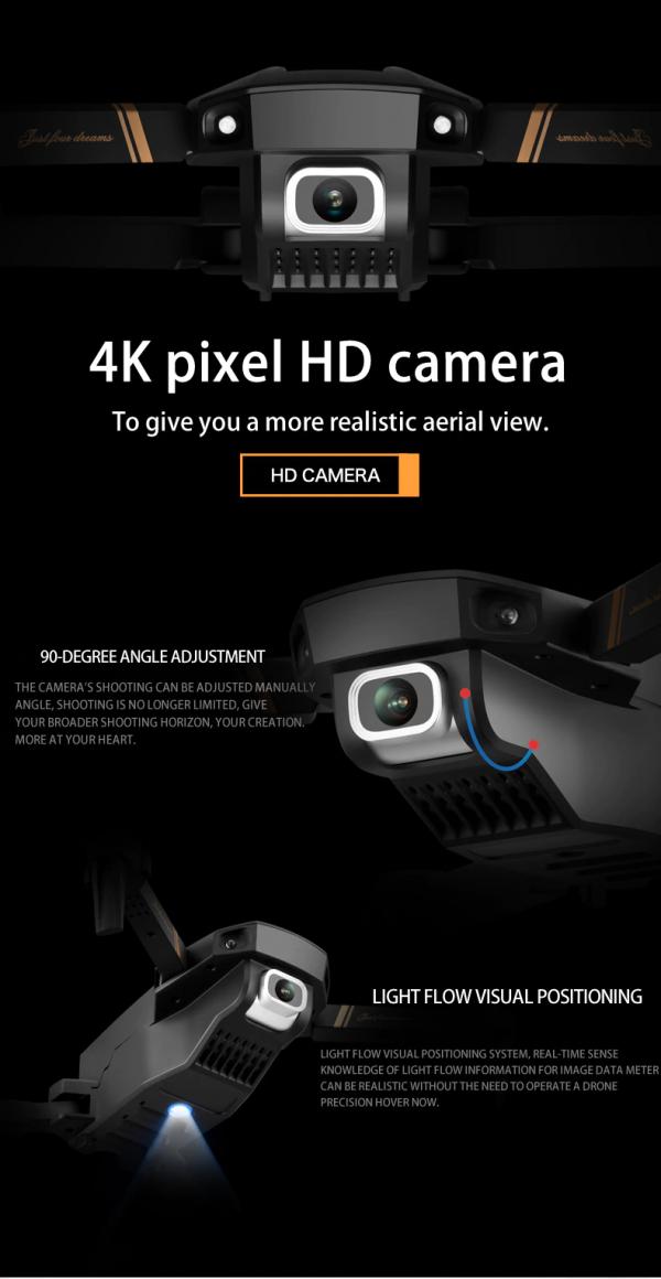 רחפן מקצועי בעל 2 מצלמות Dual camera כולל שלט באיכות 4K9